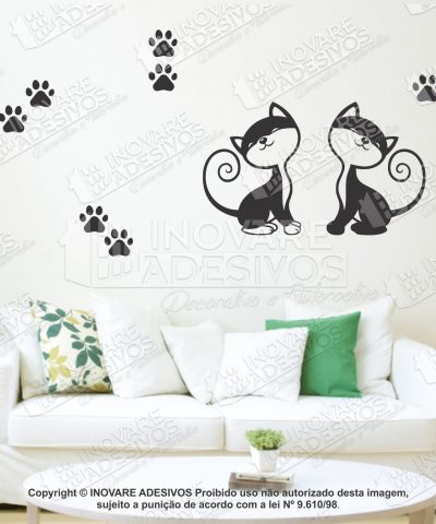 Adesivo Decorativo Casal de Gato Gatinho