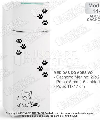 Adesivo Decorativo Pet Shop Cachorro Yorkie Macho M14 Geladeira